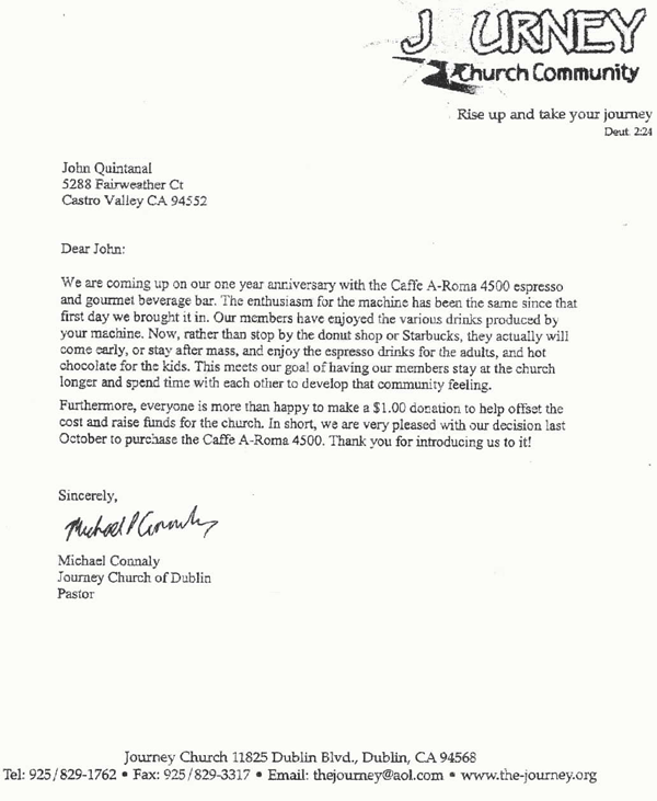 Testimonial Letter Journey Community Church Office Coffee – Community Service Letter